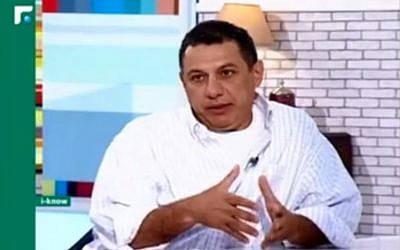 IJMA3 Secretary General Nizar Zakka speaks to Lebanon's Future TV in July 2015. (Screen capture: Future Television Studios/Facebook)