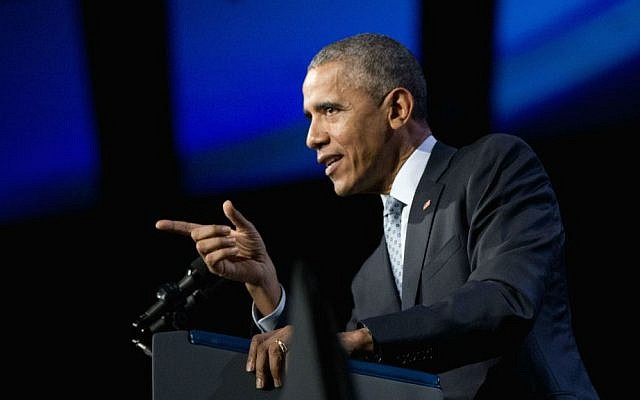 In this Oct. 27, 2015, photo, President Barack Obama speaks at the 122nd International Association of Chiefs of Police Annual Conference in Chicago. (AP Photo/Pablo Martinez Monsivais)