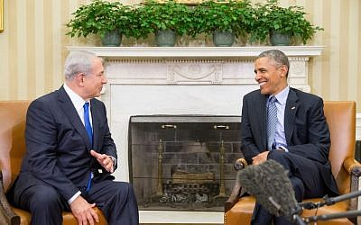 President Barack Obama (right) meets with Israeli Prime Minister Benjamin Netanyahu in the Oval Office of the White House in Washington, Monday, November 9, 2015. The president and prime minister sought to mend their fractured relationship during their meeting, the first time they have talked face-to-face in more than a year. (AP/Andrew Harnik)