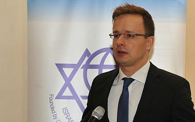 Hungarian Foreign Minister Péter Szijjártó speaking at the Israel Council of Foreign Affairs in Jerusalem, November 16, 2015 (Andres Lacko)