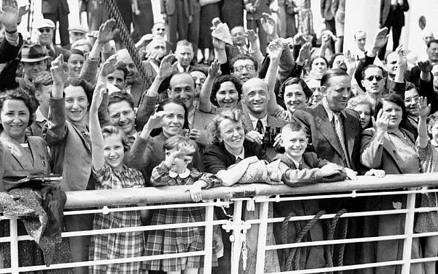 In this June 17, 1939 file photo, German Jewish refugees return to Antwerp, Belgium, aboard the St. Louis after they had been denied entrance to Cuba and the United States. (AP)