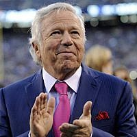 Owner Robert Kraft of the New England Patriots clapping his hands as he walks off the field prior to a game against the New York Giants at MetLife Stadium in East Rutherford, New Jersey, November 15, 2015. (Nick Cammett/Diamond Images via Getty Images/via JTA)