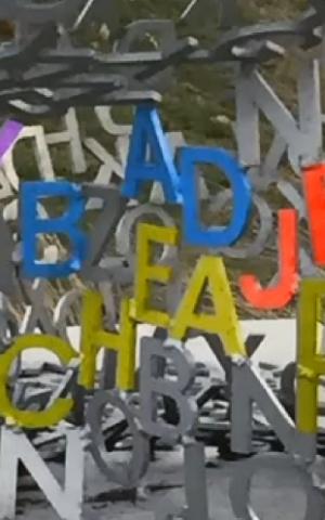 Highlighted lettering from Spillover II, Jaume Plensa (Screenshot CBS58)