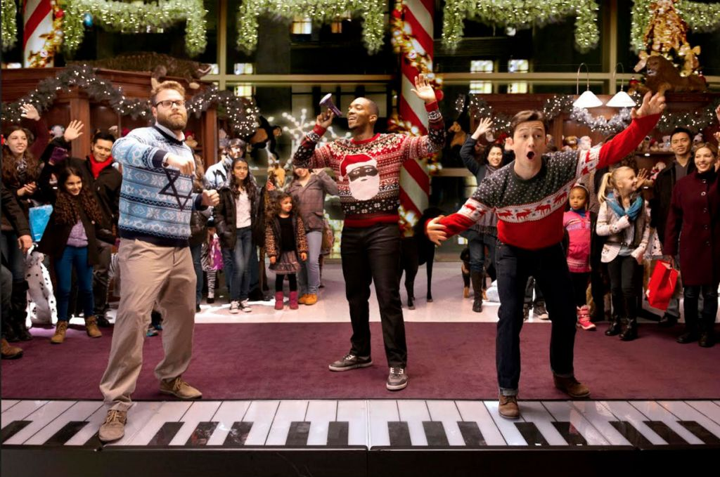 From left, Seth Rogen, Anthony Mackie and Joseph Gordon-Levitt star in Jonathan Levine's 'The Night Before.' (Courtesy of Columbia Pictures/via JTA)