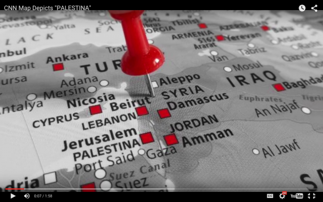 "CNN map with ""Palestina"" highlighted by HonestReporting, November 26, 2015 (YouTube screenshot)"