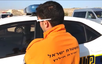 The volunteer police officer who shot the terrorist as he carried out a car-ramming attack near Kfar Adumim describes what happened on November 27, 2015. (Screen capture: Israel Police)