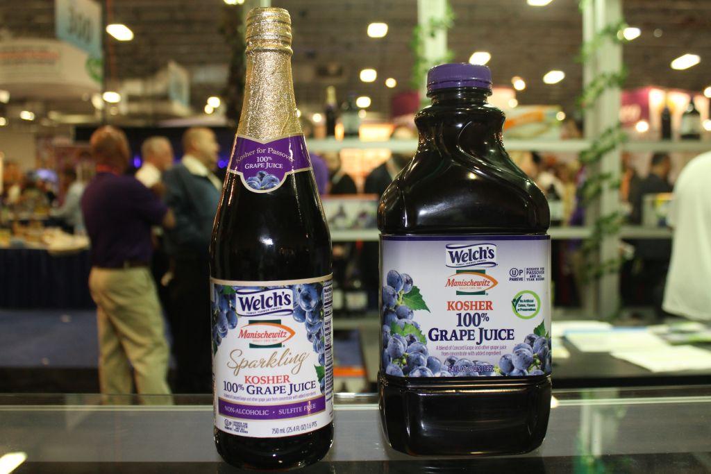 Bottles of Welch's/Manischewitz grape juice at Kosherfest in Secaucus, N.J. (Photo by Uriel Heilman/JTA)