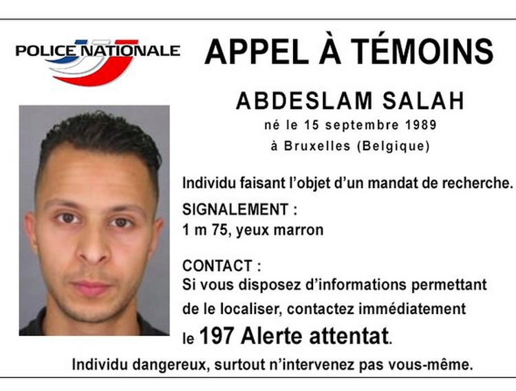 The arrest warrant issued for 26-year-old Salah Abdeslam, suspected of involvement in the November 13, 2015. terror attacks in Paris. 'Do not intervene yourself,' warns the message issued November 15, 2015.