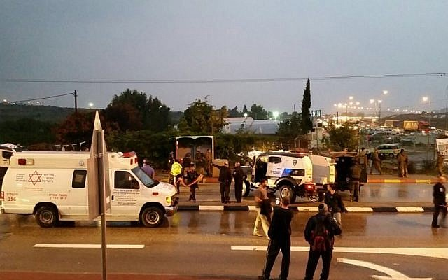 The scene of an attempted stabbing attack at Gush Etzion Junction in the West Bank on November 5. There were no injuries on the Israeli side. (Gush Etzion Regional Council)