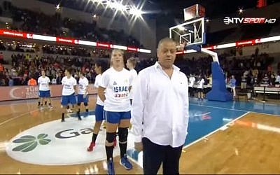Members of the Israeli women's national basketball team react as fans pelt them with objects before a game in Ankara, Turkey, on Saturday, November 21, 2015 (YouTube screenshot)