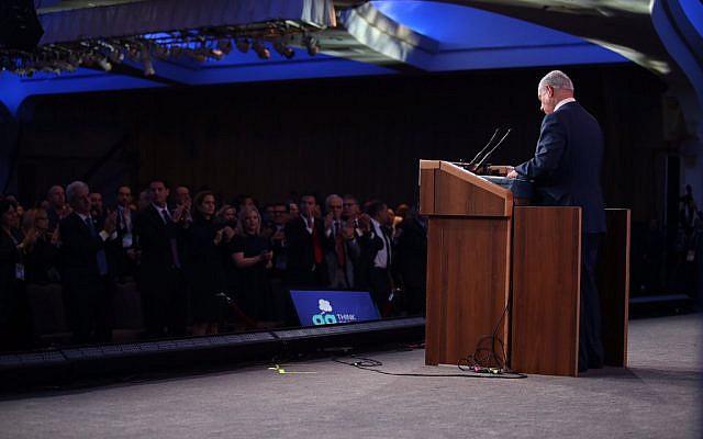 Benjamin Netanyahu speaks at the Jewish Federations Generals Assembly in Washington DC on November 10 2015 (photo: Benjamin Netanyahu on Twitter)