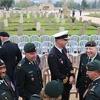 A memorial ceremony at the British military cemetery on Mount Scopus in Jerusalem (Shmuel Bar-Am)