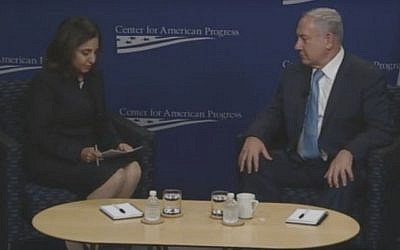 Prime Minister Benjamin Netanyahu and CAP President Neera Tanden in a discussion in Washington DC on November 10, 2015 (screen capture: YouTube)