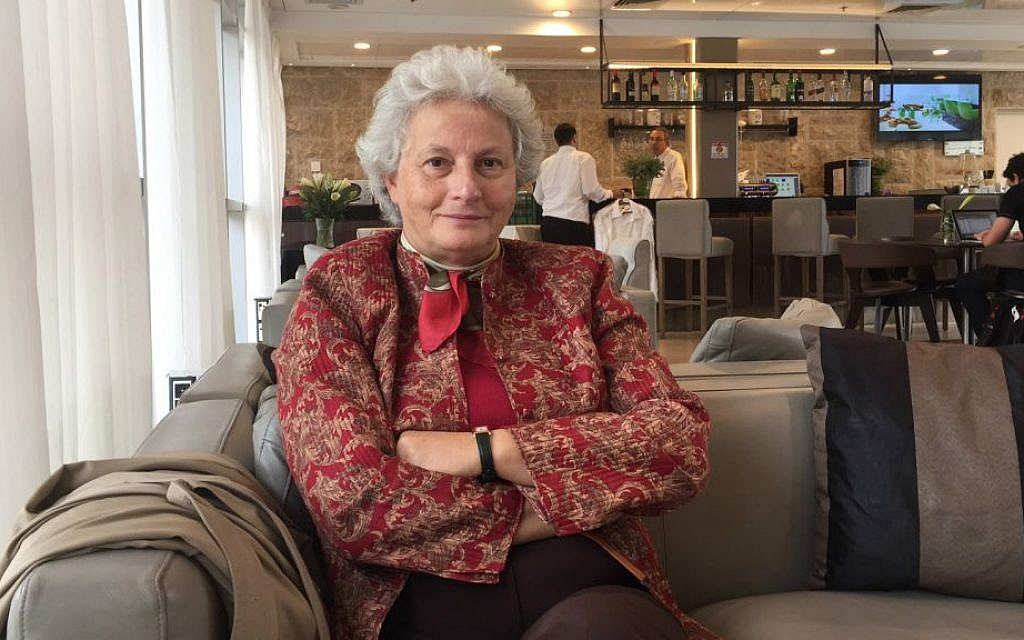 Dr. Diana Pinto sits in a lounge in Jerusalem's Yehuda Hotel following her keynote speech on Building Community Resilience in Times of Political and Social Unrest -- the European Perspective,' on November 5, 2015. (Amanda Borschel-Dan/The Times of Israel)