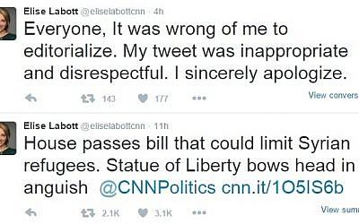 Screen capture of tweets by CNN's Elise Labott (screen capture: Twitter)