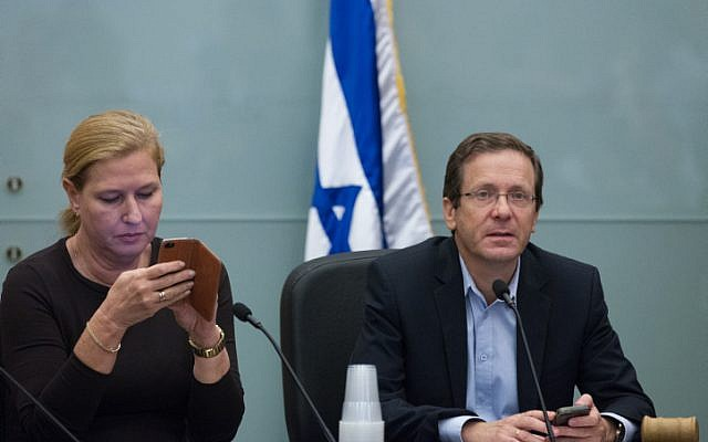 Zionist Union leader Isaac Herzog (right) and list No. 2 Tzipi Livni at party meeting at the Knesset on November 02, 2015. (Miriam Alster/Flash90)