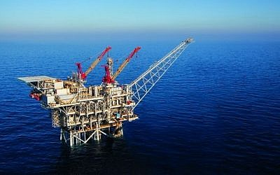 An aerial view of an Israeli offshore gas rig (Albatross Aerial photography/Noble Energy/Flash90/File)