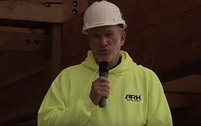 Ken Ham, the CEO of Answers in Genesis, announcing the opening date of the Ark Encounter in Kentucky on November 13, 2015 (screen capture: YouTube)