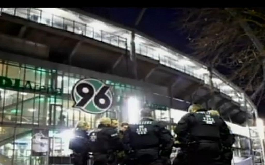 German security forces outside the stadium in Hanover where Germany and the Netherlands were scheduled to play a friendly soccer match on November 17, 2015. The match was canceled due to a security threat. (screen capture: Channel 2)