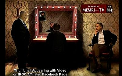 Screenshot of a thumbnail image of US President Barack Obama, Israeli Prime Minister Benjamin Netanyahu and Islamic State leader Abu Bakr Al-Baghdadi appearing to converse with one another, posted by the office of Iranian Supreme Leader Ayatollah Ali Khamenei alongside a video claiming that the US is behind IS. (YouTube screenshot/MEMRI)