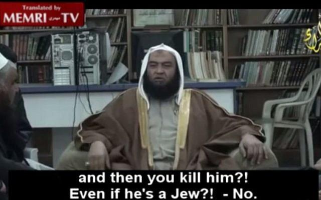 Sheikh Abdullah el-Alawneh speaks out against killing Jews (Memri screenshot)