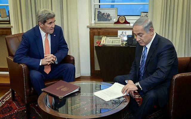 Prime Minister Benjamin Netanyahu with US Secretary of State John Kerry in Jerusalem, November 24, 2015. (Matty Stern/US Embassy Tel Aviv)