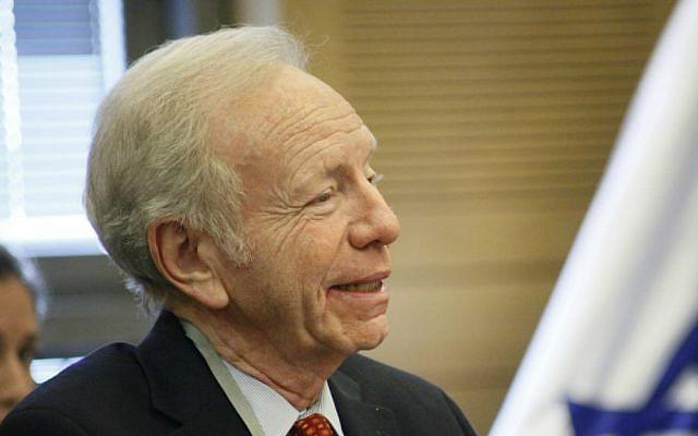 Former US senator Joe Lieberman speaking in the Knesset, November 23, 2015 (Yirmiyahu Vann)