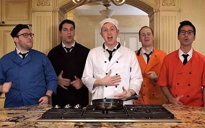 "Screenshot of the Maccabeats' Hanukkah music video ""Latke Recipe,"" taken November 24, 2015. (screenshot/YouTube)"