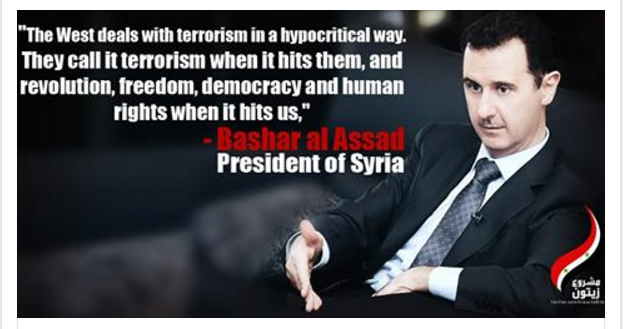 A post, shared on Facebook, suggesting that Assad is a victim of the West (Facebook)
