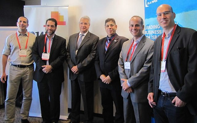 Speakers and guests at the Israel-Mexico business event in Tel Aviv, November 18, 2015. (From left to right): Rubi Suliman, technology leader at PwC Israel; Jeremy Lustman, head of the DLA Piper Israel operation; Gabriel Hayon, CEO of the Israel-Latin America Chamber of Commerce; Mexican Ambassador to Israel Benito Andion; Manuel Rajunov, tax partner at DLA Piper Mexico; and Ron Mazurik, senior tax manager at PwC Israel (Courtesy)