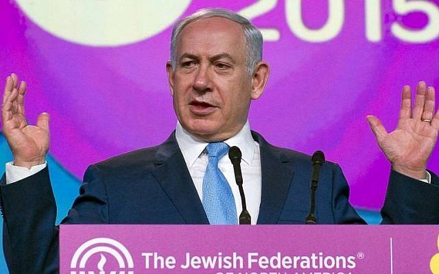 PM Benjamin Netanyahu addresses the Jewish Federations General Assembly in Washington DC on November 10, 2015. (Ron Sachs, JFNA)