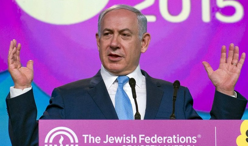 PM Benjamin Netanyahu addresses the Jewish Federations General Assembly in Washington DC on November 10, 2015 (photo credit: Ron Sachs, JFNA)