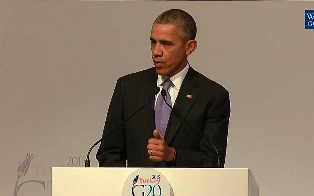 US President Barack Obama addresses the G20 summit in Istanbul on Monday, November 16, 2015 (screen capture: YouTube)
