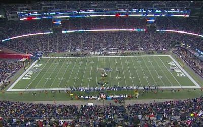 The November 23, 2015 Patriots game began with a moment of silence in memory of 18-year-old Ezra Schwartz killed in a terror attack in the West Bank. (screenshot/YouTube)