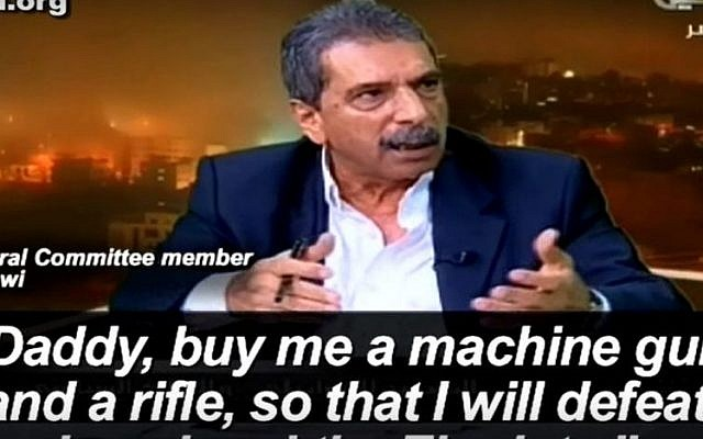 Fatah Central Committee member Tawfiq Tirawi is interviewed on PA television on October 27, 2015. (screen shot: YouTube via PMW)