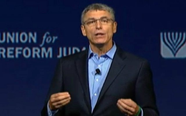 URJ President Rabbi Rick Jacobs addresses the organization's biennial meeting, November 6, 2015. (screenshot)