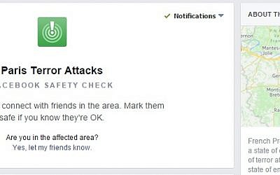Screenshot from Facebook's 'Safety Check' feature allowing users to report that they are safe.