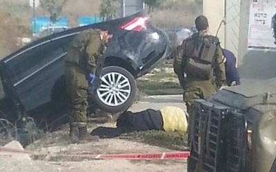 The scene of an alleged attempted attack by a Palestinian teenager in the northern West Bank on Sunday , November 22, 2015 (Samaria Regional Council)