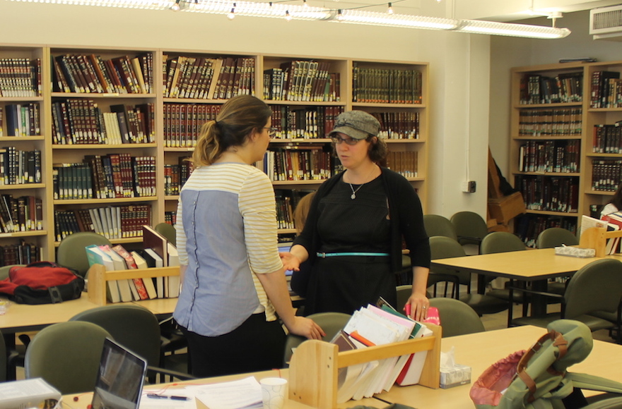 Rabba Sara Hurwitz, right, is the dean of Yeshivat Maharat in New York, which since its founding in 2009 has ordained 11 Orthodox clergywomen. (Uriel Heilman)