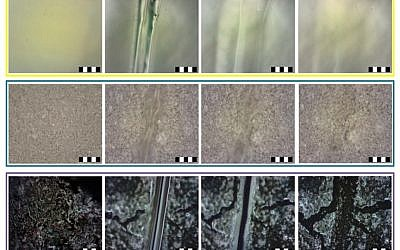 Image from right to left shows the progress of healing repair on the polymer material developed at the Techinion (Courtesy)