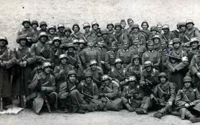 Soldiers belonging to the Blue Division, a unit of Spanish volunteers that served in the Nazi Army on the Eastern Front of World War II. (screen capture: YouTube)