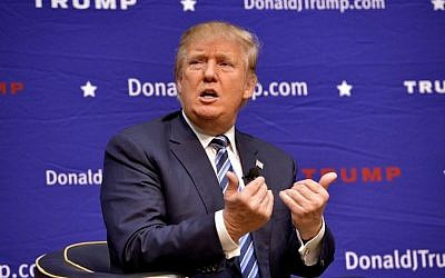 Republican presidential candidate Donald Trump speaks during a town hall meeting at the Ben Johnson Arena on the Wofford College campus, Friday, Nov. 20, 2015, in Spartanburg, S.C. (AP Photo/Richard Shiro)