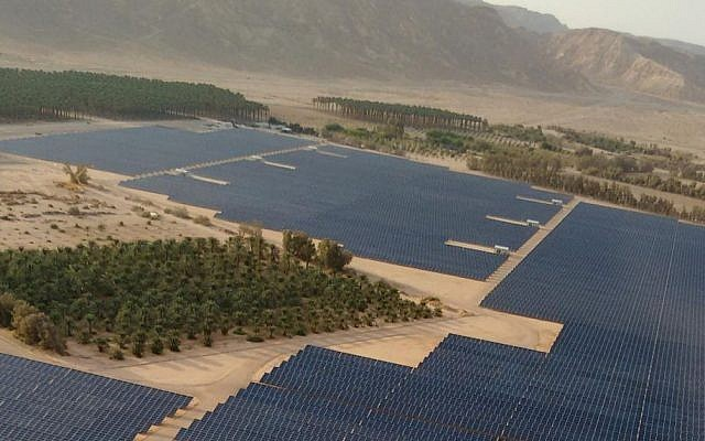 An aerial view of the 40 megawatt solar field recently built at Kibbutz Ketura, which provides the one third of the daytime electricity for the city of Eilat. (Courtesy)