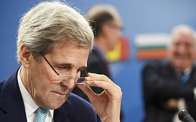 US Secretary of State John Kerry at NATO Headquarters in Brussels, December 2, 2015. (AFP Photo/John Thys)