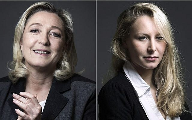 Marine Le Pen (left), president of the French far-right Front National (FN) party, and her niece Marion Marechal-Le Pen, FN member of parliament. Photo combination made on December 9, 2015. (JOEL SAGET/AFP)