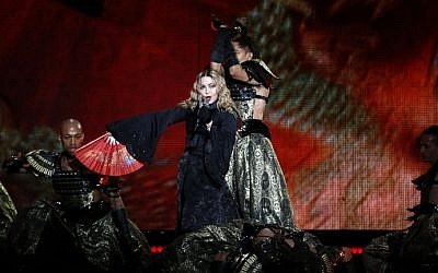 US singer Madonna performs during a concert at the AccorHotels Arena in Paris on December 9, 2015. (Francois Guillot/AFP)
