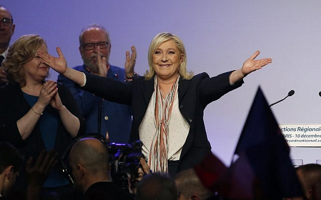 French far-right Front National (FN) president Marine Le Pen during a campaign rally in Paris, December 10, 2015 (AFP/Patrick Kovarik)