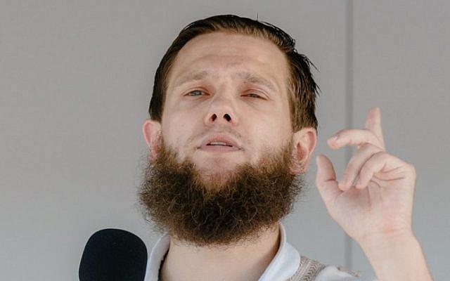 Islamist preacher Sven Lau aka Abu Adam during a rally on July 19, 2014 in Hamburg, northern Germany. (AFP Photo/DPA/Markus Scholz)