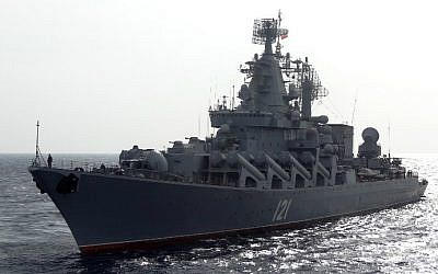 The Russian missile cruiser Moskva patrols in the Mediterranean Sea, off the coast of Syria, on December 17, 2015. (Max Delany/AFP)