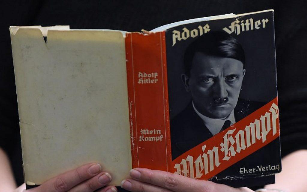 A German edition of Adolf Hitler's 'Mein Kampf' at the Berlin Central and Regional Library (Zentrale Landesbibliothek, ZLB), December 7, 2015. (AFP/Tobias Schwarz)